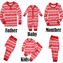 2018 New Family Christmas Dear Pajamas Matching Clothes Xmas Red Mama Women Sets