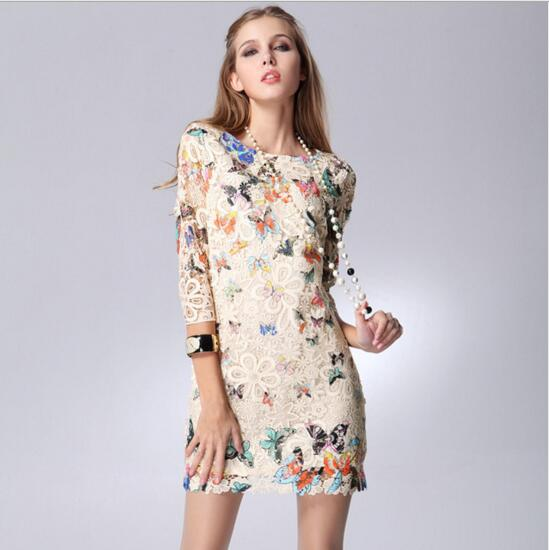 dress butterfly print picture - more detailed picture about 2017