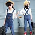 blue skinny jeans for girls 2017 new lips character pockets suspender teenage little girls jeans pants spring denim overalls
