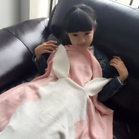 New arrival 100% cotton cute rabbit blanket high quality knitted blanket for kids/children Gray/Pink/Green