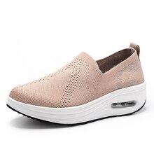 Новинка; женская обувь из сетчатого материала; мягкая амортизирующая обувь для прогулок на платформе; обувь без шнуровки для путешествий и фитнеса; обувь для танцев