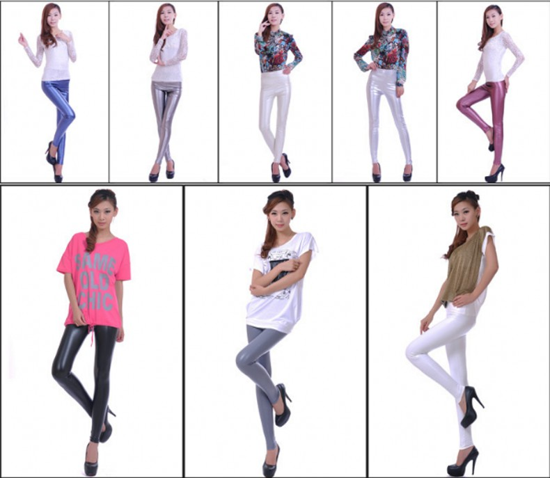 Womens PU Leather Pants High Elastic Waist Leggings Not Crack Slim Leather Leggings Fleece Trousers Women Fashion F80 61