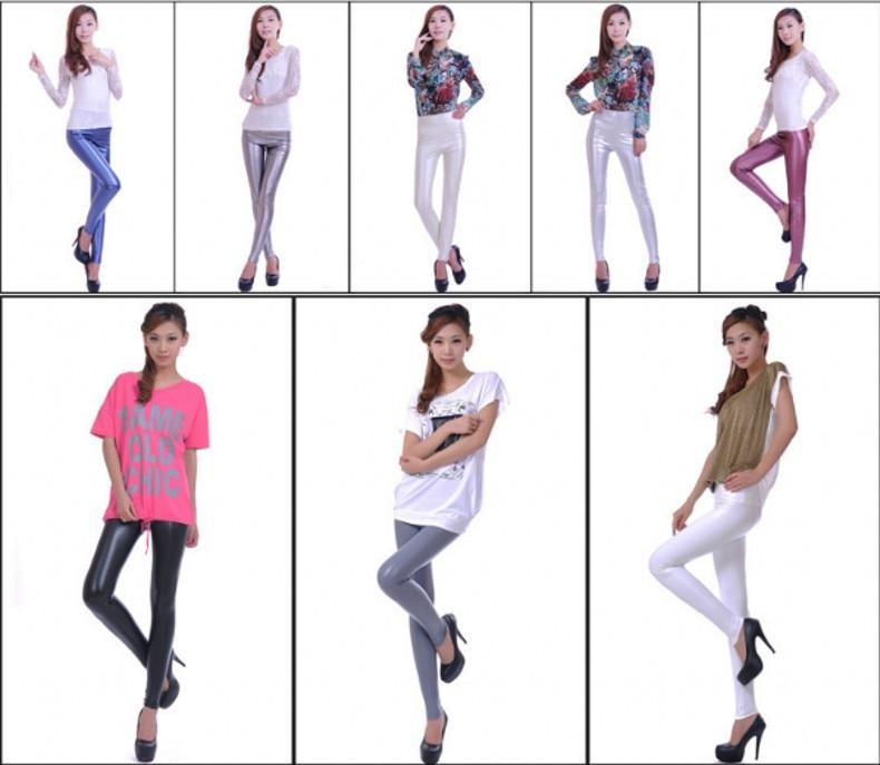 Womens PU Leather Pants High Elastic Waist Leggings Not Crack Slim Leather Leggings Fleece Trousers Women Fashion F80 35