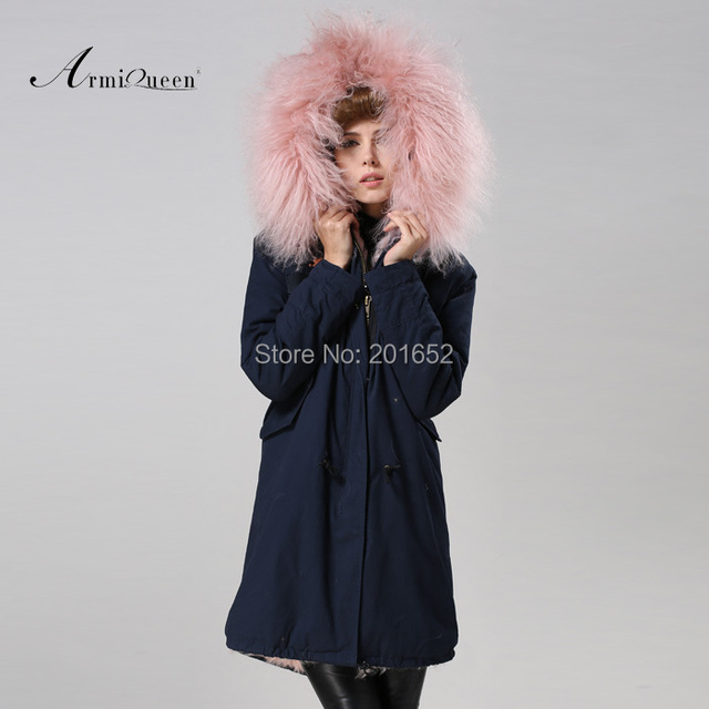 Free Shipping factory direct 1 Pc Winter Women Warm wool Fur Collar hooded long coat Jacket hoodie quilted Puffer blue mr parka 5