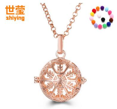 flake snow (5 PCS random soft diffuser ball+ 1 necklace ) Cage Fragrance Essential Oil Aromatherapy Diffuser Locket Necklace
