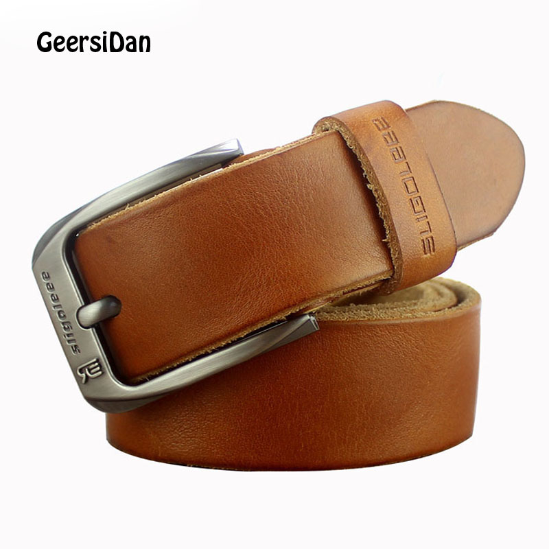 GEERSIDAN 2018 Luxury genuine leather   belt   men vintage leather   belt   men's jeans strap black color wide strapping waistband brown