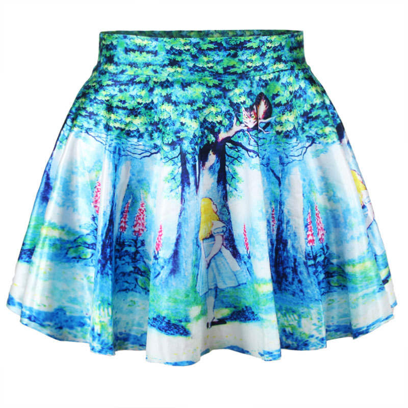 BACHASH 2018 Spring New Style Starry Night Print Pleated Skirt ... 87675ae07c9e