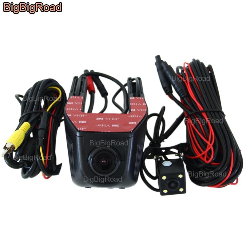 BigBigRoad Pour Hyundai Tucson santa fe Sonata 9 i30 veloster ix25 Voiture Wifi DVR Double Caméras Voiture Vidéo Enregistreur Dashcam
