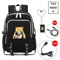 Sailor Moon Crystal anime students backpack schoolbag Fashion teenagers SB Charge girl School travel Shoulder bag