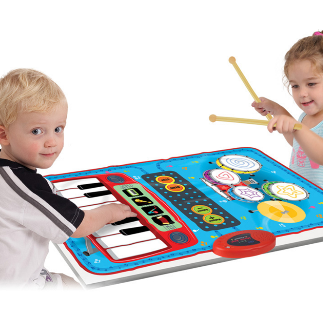 2 In 1 Mini 2 Drumsticks Battery-powered Drum Piano Musical Touch Play Educational Music Carpet Child Toys For Children Gift