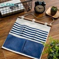 Japan Style Linen Cotton Fabric Wall Door Cloth Hanging Storage Bag Case 5 Pocket Home Organizer