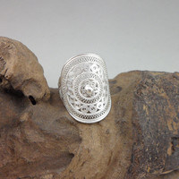 Vintage Men Ring Adjustable 999 Sterling Silver Rings Women Ethnic Bohemian Jewelry Handmade Luxury Jewellery Unisex Silver Ring