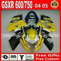 Новое для 2004 2005 SUZUKI желтый черный GSXR 600 750 зализа ABS к4 RIZLA версия gsxr600 GSX R750 весело 04 05 7 подарков 783