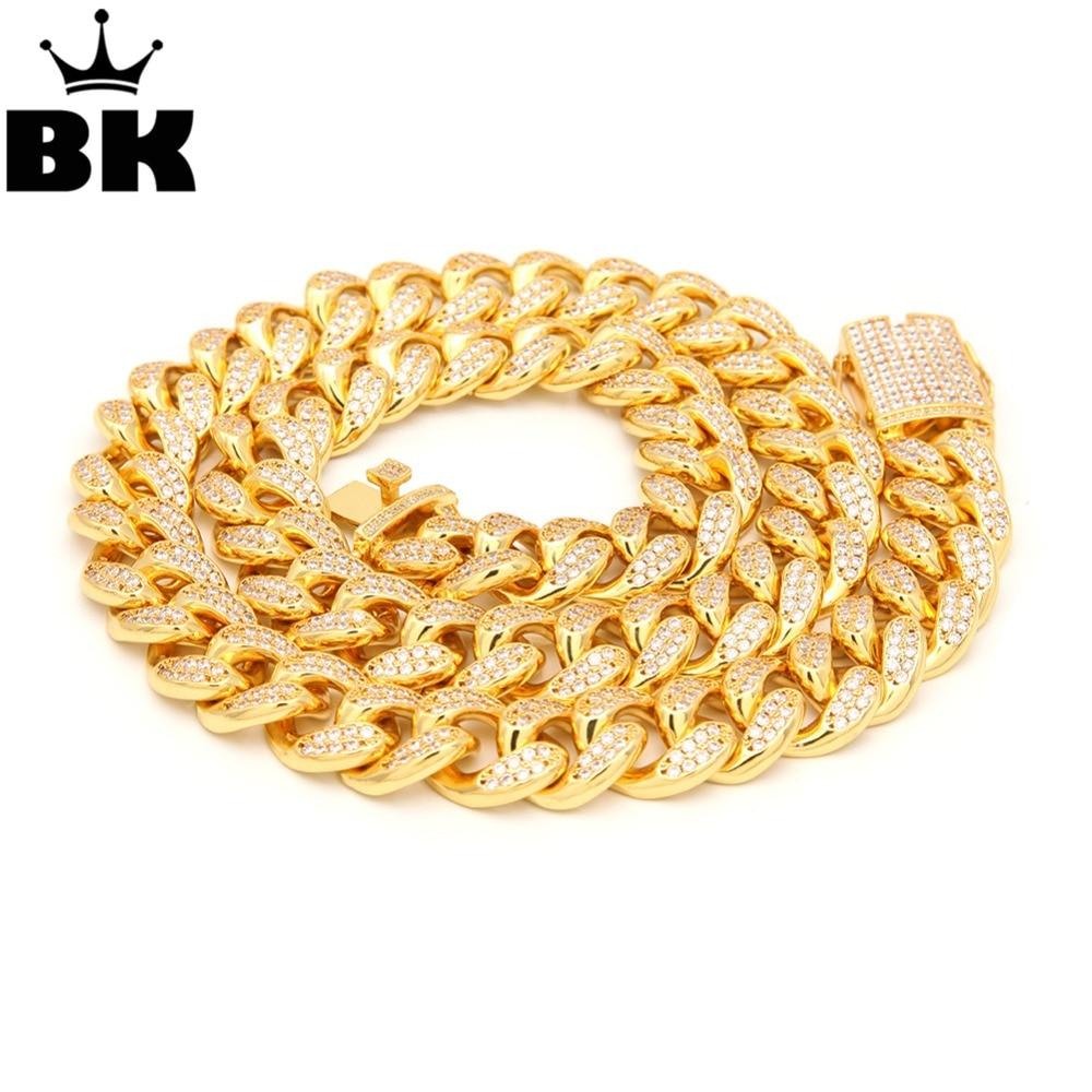 THE BLING KING 20mm CZ Cuban Chains Gold Prong Miami Cuban Chocker Big Lock Cubic Zirconia Necklace Chain the cuban economy