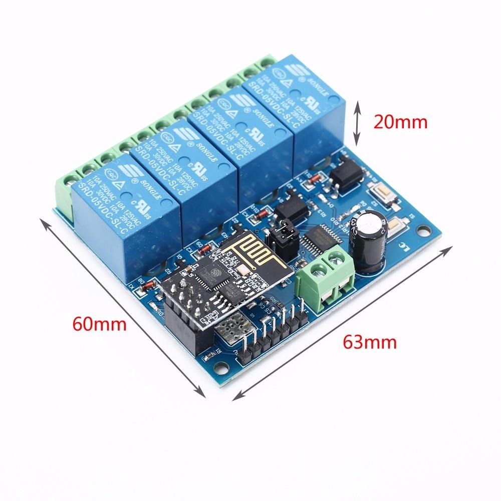 ESP8266 12 V 4 Channel Wifi Relay Smart Téléphone Maison APP Contrôle à Distance Interrupteur