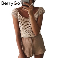 BerryGo Hollow Out Handmake Crochet Blouse Shirt Sexy Tassel Bow Off Shoulder Blouse Blusas Summer 2017
