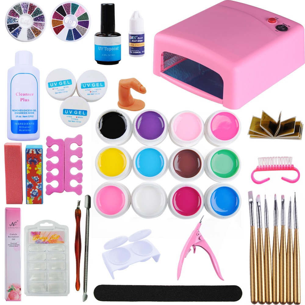 Pro Nail Polish Set Nail Art Set 36W UV LED Lamp Dryer 12 Colors Uv Gel Set kit Nail Tool Gel Varnish Lacquer Manicure Tools Kit full uv gel nail art nail polish 36w nail uv lamp dryer tools eu plug set