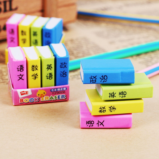 4 Pcs/Pack Book Style Eraser School Office Learning Pencil Erase Stationery Supplies For Kids Gifts Color Random by Tenfon