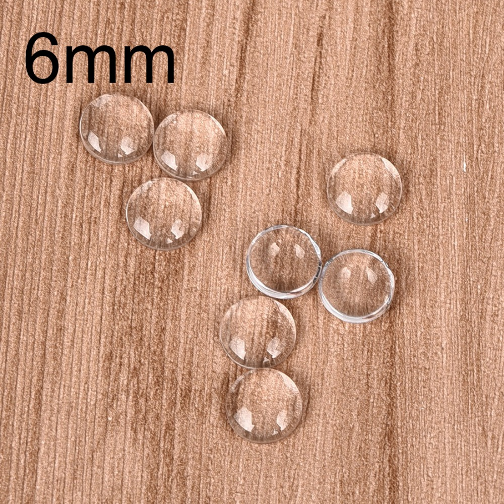 100pcs/lot 6mm Round Cabochons Transparent Glass Clear Flat Back For DIY Pendant Findings Jewelry Making Handmade Accessories