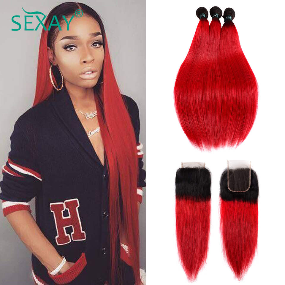 Ombre Bundles With Closure Dark Roots Ombre Red Human Hair Brazilian Straight Hair 3 Bundles SEXAY Red Bundles With Closure