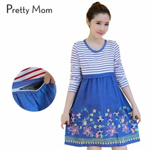 Fashion Embroidery Stripe Maternity Dresses Nursing Dress Breastfeeding Clothing for Feeding Autumn Maternity Nursing Clothes