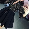 Women Office Dress O-Neck high waist Lace Silm zippers Retro Dress  for work feminina