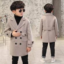 Коллекция года, осенне-зимнее детское шерстяное пальто для мальчиков плотная теплая одежда в Корейском стиле для мальчиков двубортная куртка из хлопка для подростков, F21