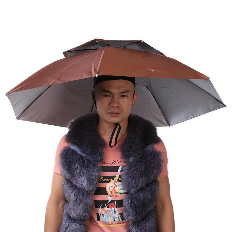 15f69235e5a37 2 Layer Portable Folding Umbrella Hat Wind Proof Headwear Umbrella Cap Hands  Free Rain Gear for