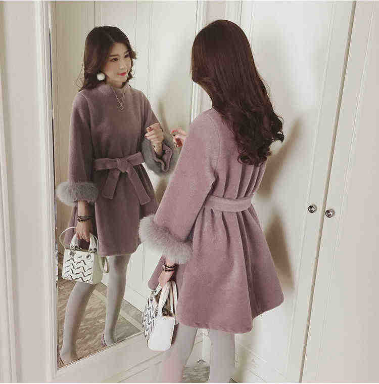 2018 Winter Elegant Maternity Woolen Coats Waist Tied Pregnant Women Fur Sleeve Hem Turtle-neck Jacket for Pregnant Women