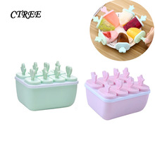 CTREE Summer 6/8 grid Ice Cream Mold Reusable Ice Cubes Tray Frozen Popsicle Molds Ice Cube Maker Ice Cream Mould Tools C804
