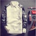 New2016 Корейской версии Случайных Polerones Hombre Толстовка Мода сращивание хип-хоп Толстовки Тонкий шею мужская Harajuku толстовки