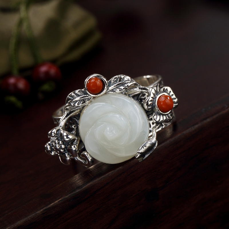 Rose Rushed Women Obsidian Anel Feminino 2018 New S925 Pure Antique Mosaic And Tian Yu South Rose Female Open Ring Wholesale antique rose