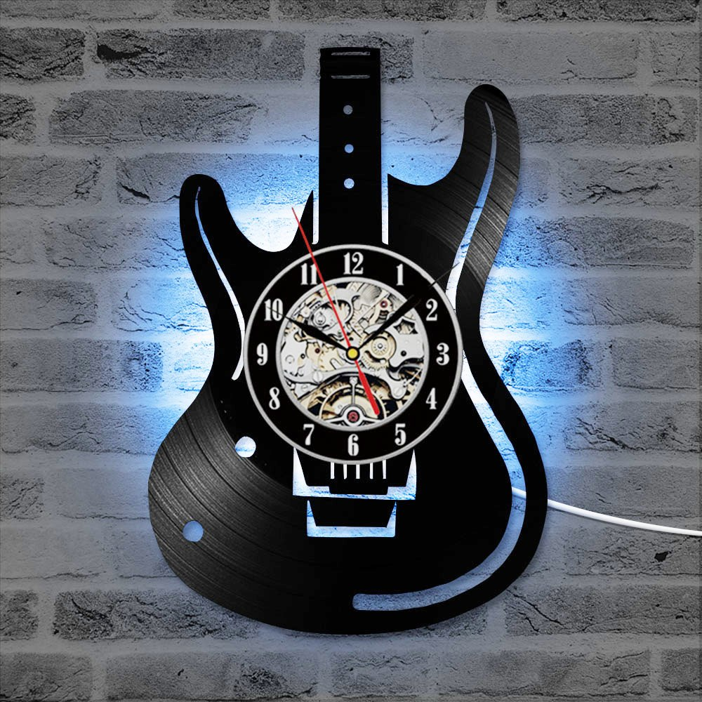 Vinyl Record Wall Clock Guitar CD LED Clocks Antique Musical Instrument Home Decor Creative Silent Hanging Watch For Music Lover