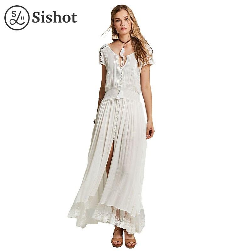 Sishot women bohemia dresses 2017 summer autumn v neck ankle length white hollow patchwork elegant lace