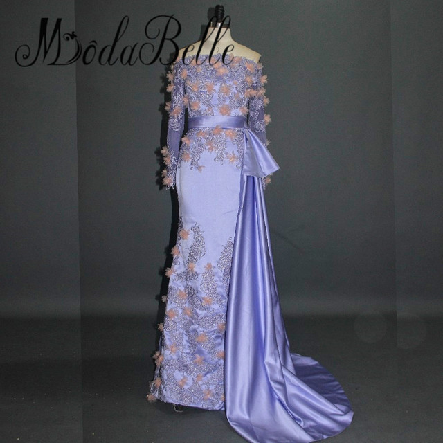 modabelle Women Robe Arabe Dubai Flowers Evening Dress Sexy Long Elegant  Handmade Applique Purple Saudi Arabia Best Prom Dresses e14782ee22da