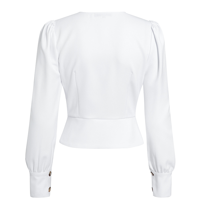 HTB197F9arj1gK0jSZFOq6A7GpXaF - Conmoto Elegant Solid Women Blouse Shirts Vintage Retro Peplum White V Neck Female Blouses Puff Casual Blusa Mujer
