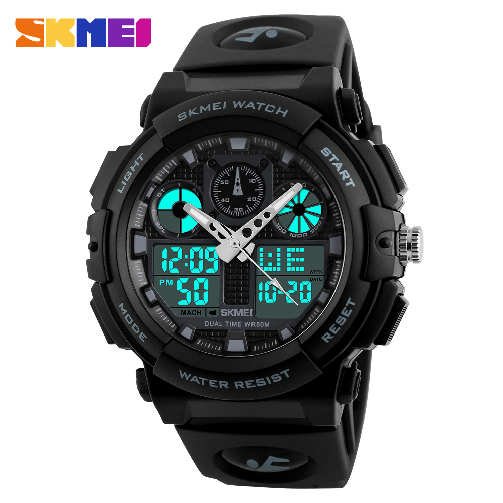 SKMEI Men Sports Quartz Watches Fashion Outdoor Man Clock Watch 2 Time Waterproof Digital Men Top Wristwatch reloj hombre 1270 skmei men quartz digital dual display sports watches new clock men outdoor military watch fashion student waterproof wristwatch