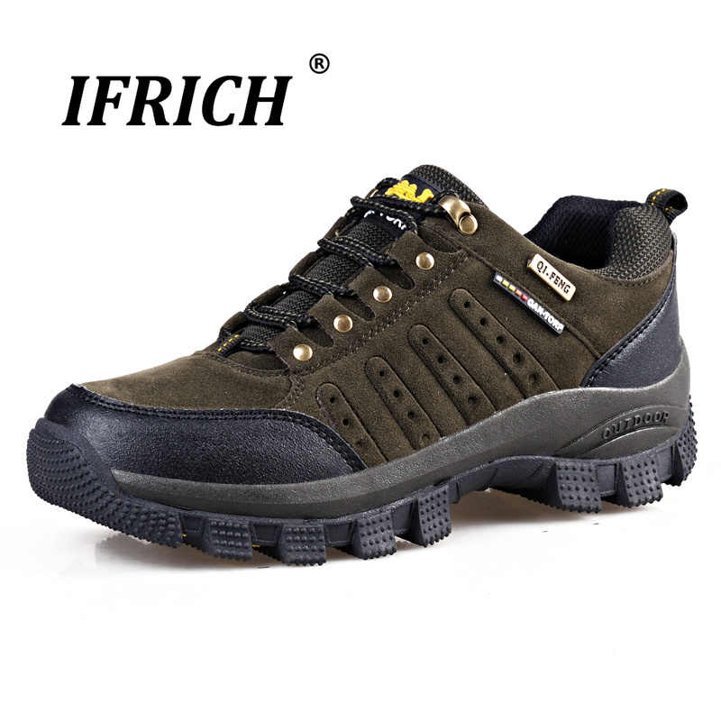 Ifrich 2019 Spring Autumn Men Hiking Shoes Genuine Leather Lace-Up Trekking Shoes Cushioning Breathable Mountain Sneakers
