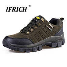 Ifrich 2019 Spring Autumn Men Hiking Shoes Genuine Leather Lace-Up Trekking Shoes Cushioning Breathable Mountain Sneakers 2017 cushioning running shoes men spring autumn pu leather light lace up breathable brand man sneakers