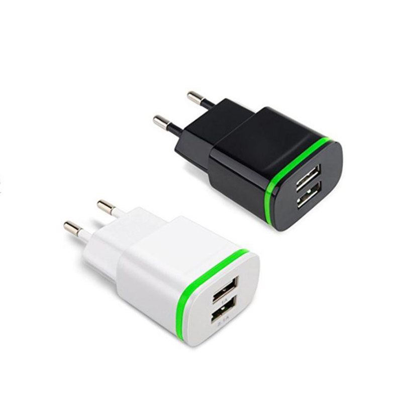 5V 2.1A Smart Travel Dual 2 USB Charger Adapter Wall Portable EU Plug Mobile Phone Charger for Xiaomi Highscreen Fly Micromax