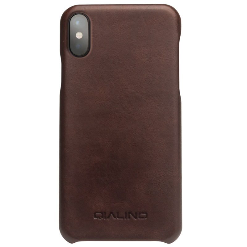 QIALINO Cowhide Leather Phone Case for iPhone X Coated PC Cover for iPhone X / Ten 5.8 inch Capa Coque Fundas Dark Brown
