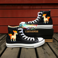 Christmas Gifts Converse All Star Men Women Shoes Pokemon Ponyta Horse Design Hand Painted Shoes High Top Girls Boys Sneakers 5