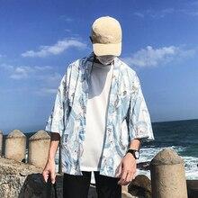 Crane Ful Printed Three Quarter Kimono Jacket Men 2018 Summer Open Stitch Loose Style Japanese Jackets Men