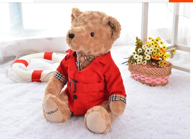 big cute Teddy bear toy plush red Dust coat bear toy doll birthday gift about 40cm new creative cute plush bear toy big head teddy bear doll gift about 35cm