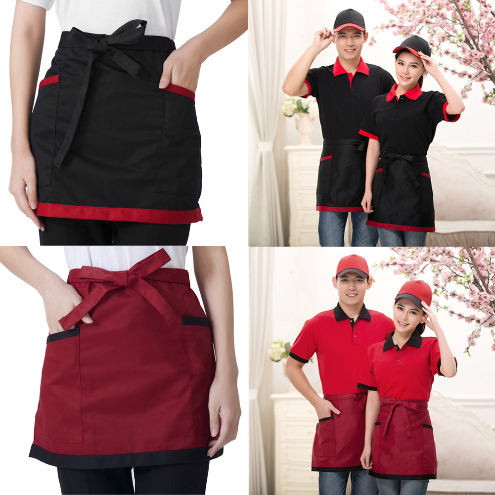 Unisex Half Bust Bib Apron Restaurant Kitchen Coffee Tea Shop Waitress Uniforms Waist Short Apron With Pockets Aprons