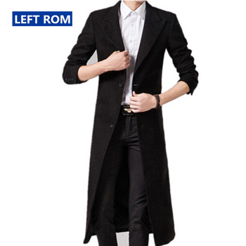 Autumn Winter Mens Pure Color Fashion Boutique Wool Blends Super Long Woolen Cloth Dust Coat / Male Slim Black Dust Coat Jackets