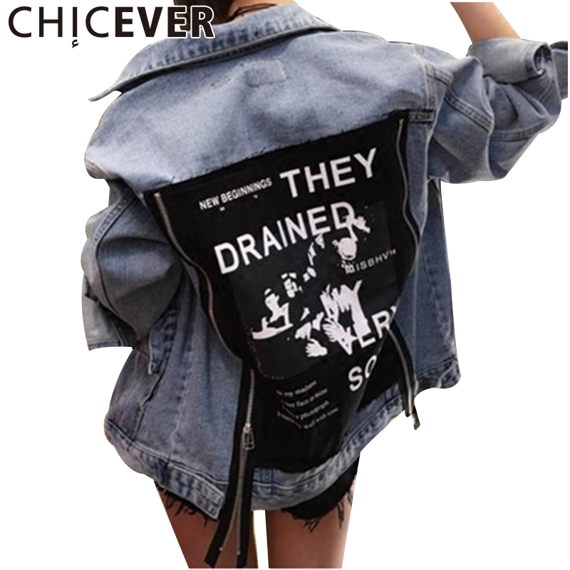 CHICEVER 2017 Autumn Back Patch Denim <font><b>Jacket</b></font> For Women Female Jeans Feminine Coat Zipper Women