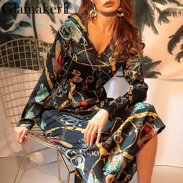 Glamaker boho Dress Glamaker Loose vintage maxi dress Women spring long sleeve sexy elegant  dress Holiday party chiffon causal boho dress robe 2019