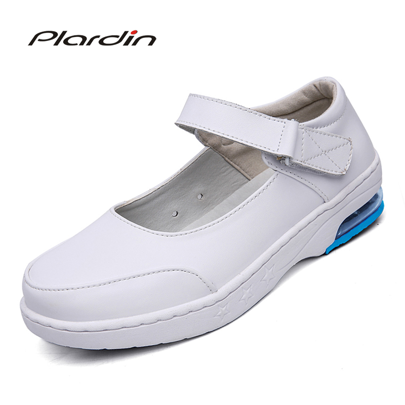 plardin New Four Seasons Woman Buckle Strap Nurse shoes women Platform soft Comfortable Air cushion casual genuine leather shoe new european top grade embroidery cushion sell like hot cakes four seasons pleuche gm direct manufacturers in the cushion