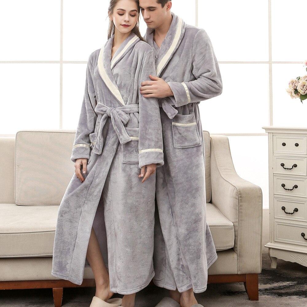 Autumn And Winter, Couple Pajamas Set Lover's Thick Flannel Robe Women And Men Bathrobe Lengthen Coral Fleece Robe